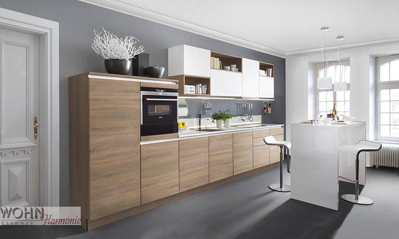 Wohnharmonie-design-Singlekueche-holzoptik - Kochatelier Brenner